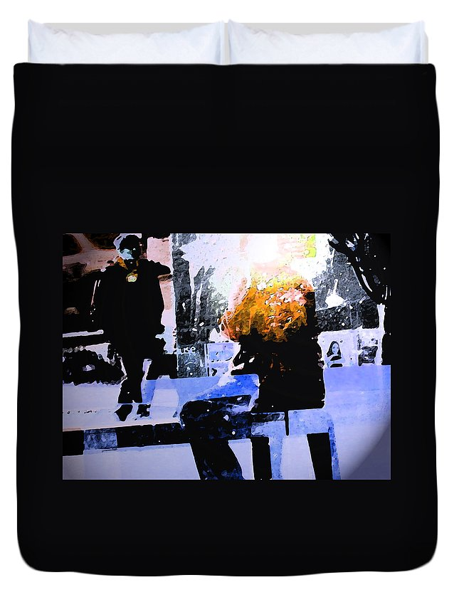 Abstract Duvet Cover featuring the digital art Alternate Reality - Photographer On Fire by Lenore Senior