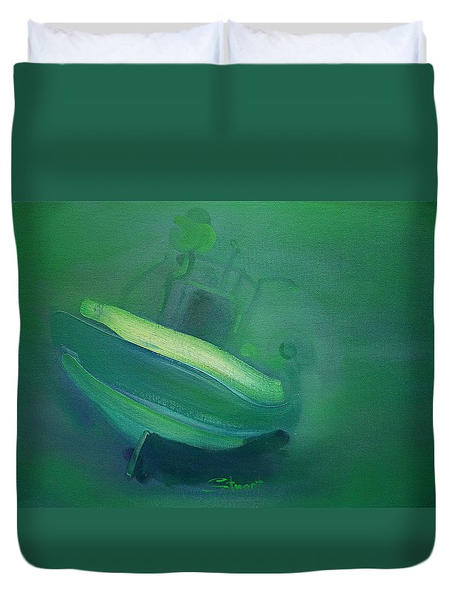 Fishing Boat Duvet Cover featuring the painting Alvor Working Boat by Charles Stuart
