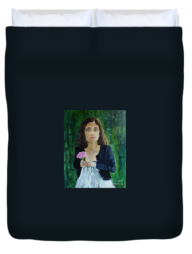 Portrait Duvet Cover featuring the painting Aly by Laurie Morgan