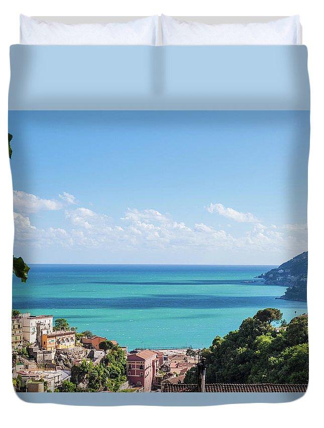 Scenics Duvet Cover featuring the photograph Amalfi Coast Landscape Vietri Village by Angelafoto
