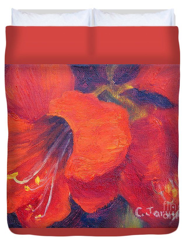 Amaryllis Flower Duvet Cover featuring the painting Amaryllis Flower by Carolyn Jarvis