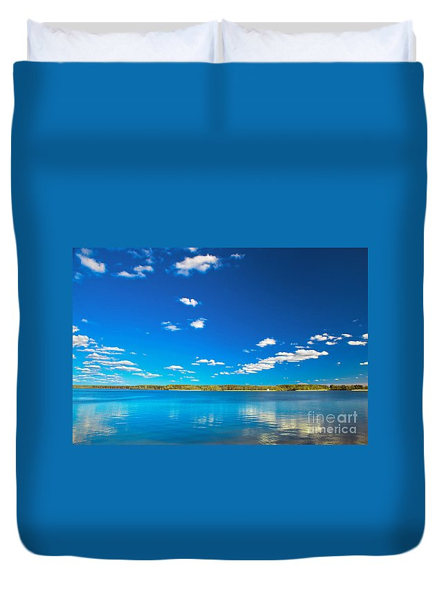 Lake Duvet Cover featuring the photograph Amazing Clear Lake Under Blue Sunny Sky by Michal Bednarek