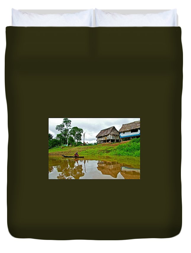 Amazon River Reflections Duvet Cover featuring the photograph Amazon River Reflections-peru by Ruth Hager