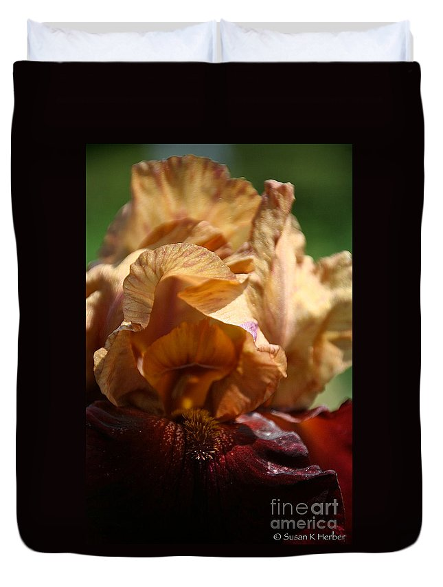 Flower Duvet Cover featuring the photograph Amber Iris Waves by Susan Herber