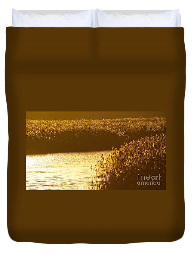 Marsh Duvet Cover featuring the photograph Amber Waves by Joe Geraci