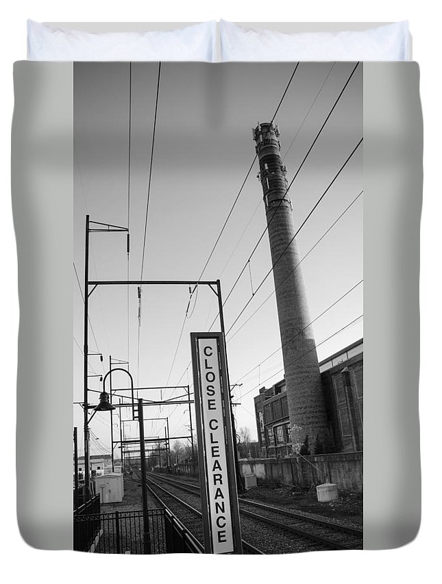 Ambler Duvet Cover featuring the photograph Ambler Smokestack by Photographic Arts And Design Studio