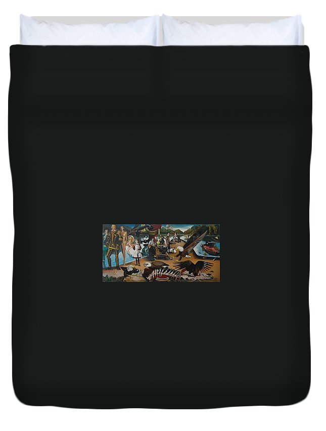 Unfinished Duvet Cover featuring the painting America The Beautiful by Jude Darrien