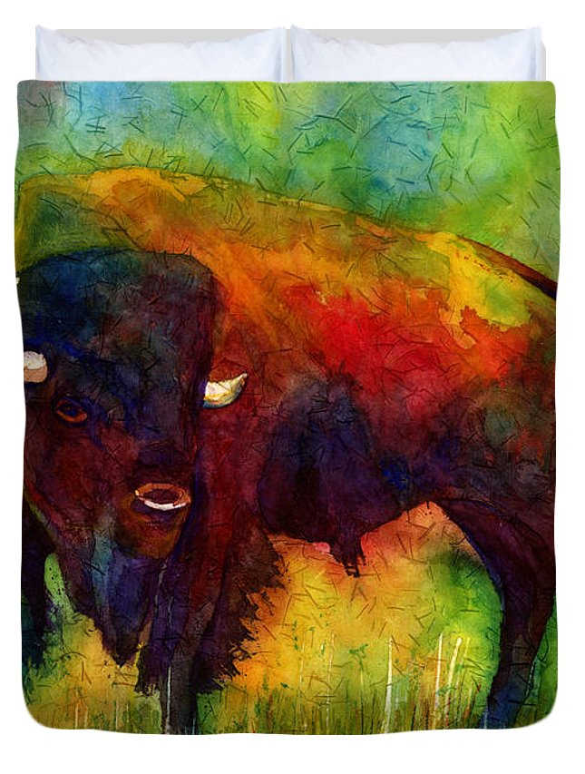 Bison Duvet Cover featuring the painting American Buffalo by Hailey E Herrera