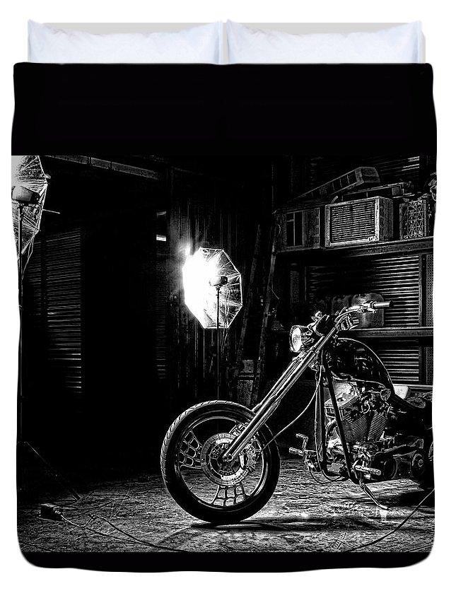 Bike Duvet Cover featuring the photograph American Chopper by Agustin Uzarraga