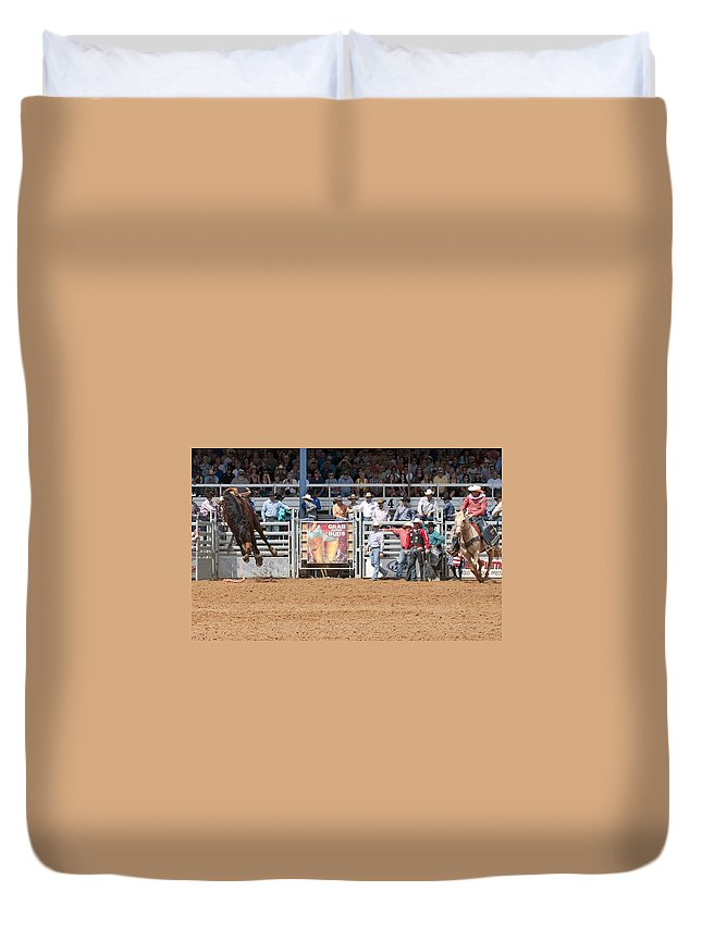 Rodeo Duvet Cover featuring the photograph American Cowboy Bucking Rodeo Bronc by Sally Rockefeller