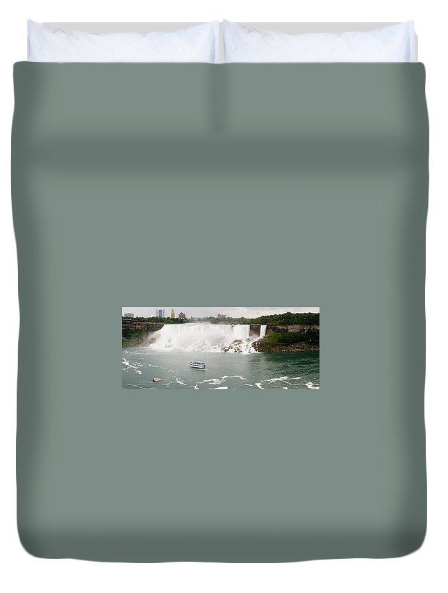 3scape Duvet Cover featuring the photograph American Falls by Adam Romanowicz