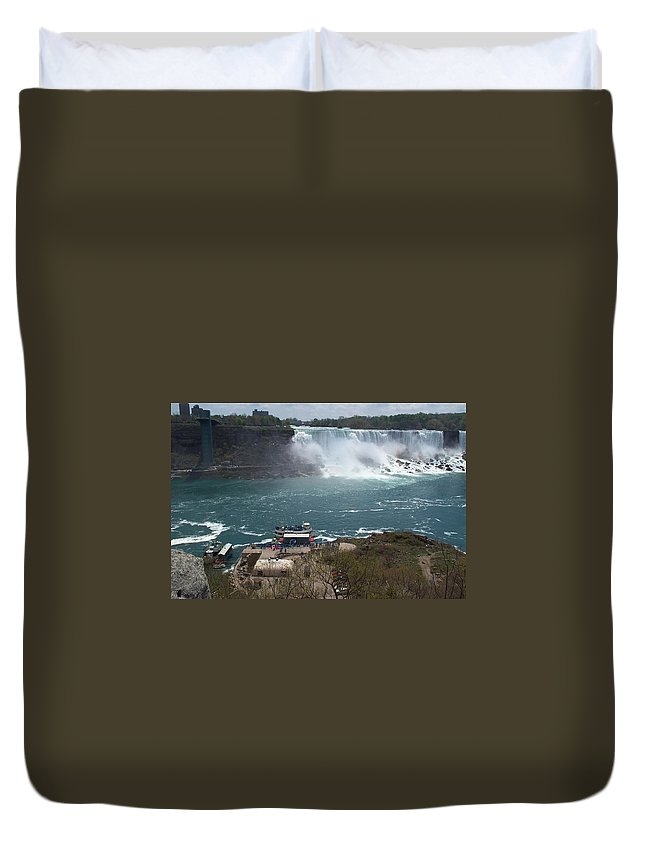 Niagara Falls Duvet Cover featuring the photograph American Falls From Above The Maid by Barbara McDevitt
