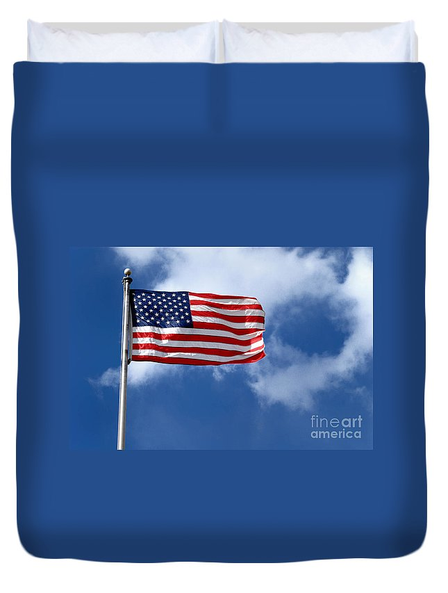 America Duvet Cover featuring the photograph American Flag by Amy Cicconi