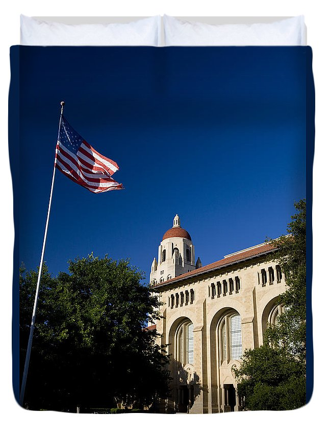 Travel Duvet Cover featuring the photograph American Flag And Hoover Tower Stanford University by Jason O Watson