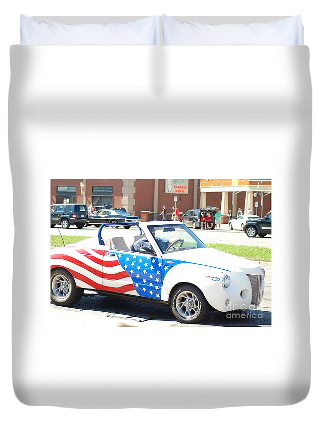 Duvet Cover featuring the photograph American Flag Car by Optical Playground By MP Ray