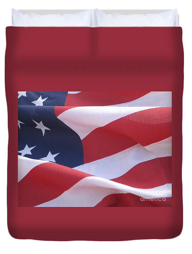 Photograph Duvet Cover featuring the photograph American Flag  by Chrisann Ellis