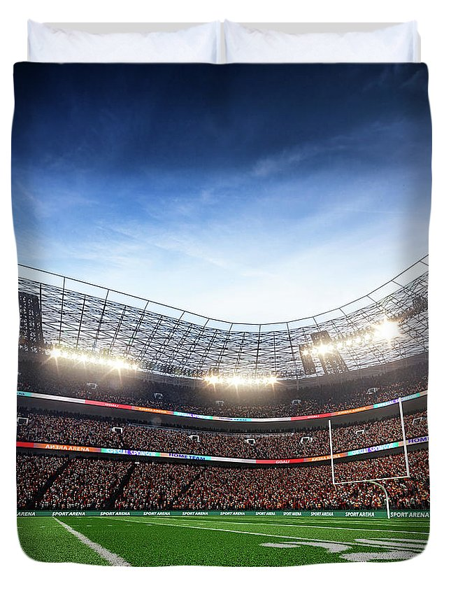 Financial Figures Duvet Cover featuring the photograph American Football Stadium Arena Vertical by Sarhange1