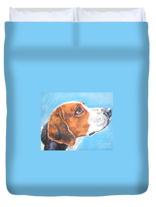 Dog Duvet Cover featuring the painting American Foxhound by Lee Ann Shepard