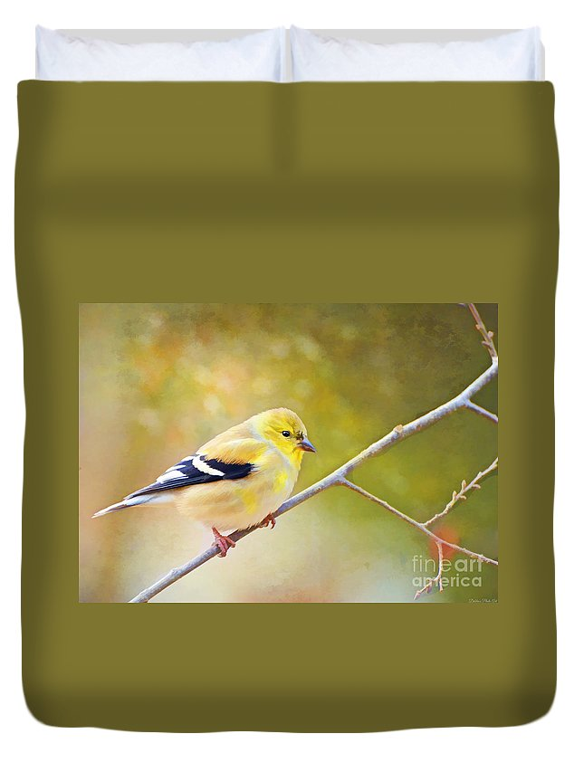 Branch Duvet Cover featuring the photograph American Goldfinch - Digital Paint by Debbie Portwood