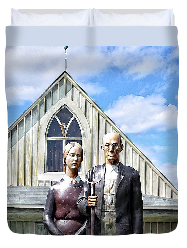 American Duvet Cover featuring the photograph American Gothic by Bill Cannon