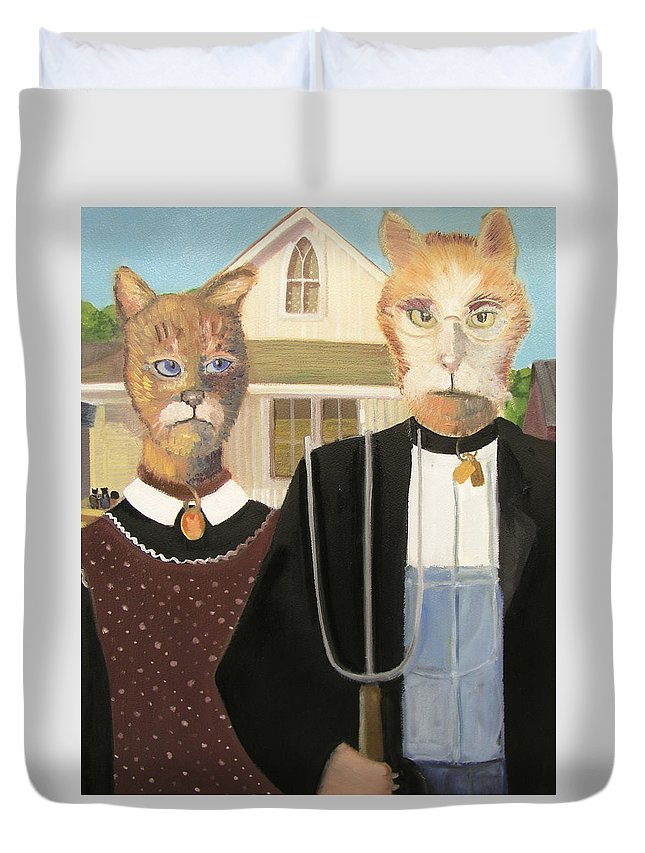 American Gothic Duvet Cover featuring the painting American Gothic Cat by Gail Eisenfeld
