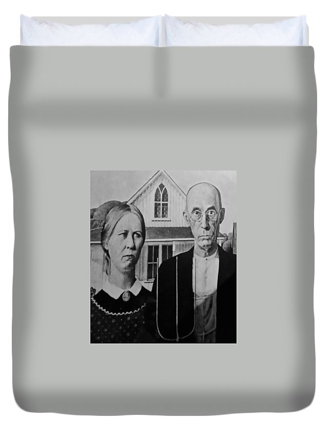 Americana Duvet Cover featuring the photograph American Gothic In Black And White by Rob Hans