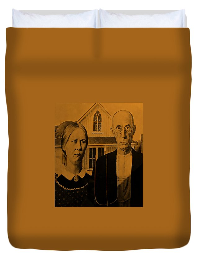 Americana Duvet Cover featuring the photograph American Gothic In Orange by Rob Hans