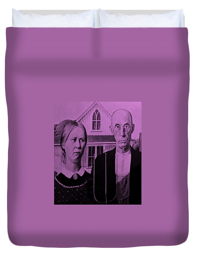 Americana Duvet Cover featuring the photograph American Gothic In Pink by Rob Hans