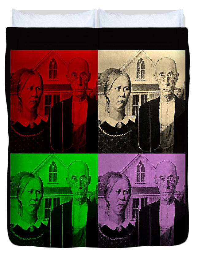 Americana Duvet Cover featuring the photograph American Gothic In Quad Colors by Rob Hans