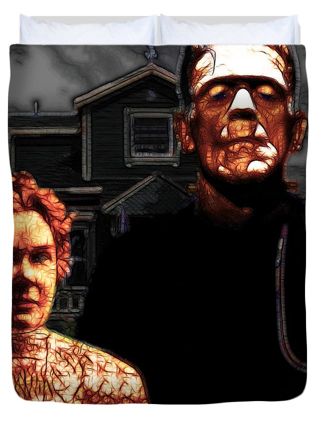Home Duvet Cover featuring the photograph American Gothic Resurrection - Version 2 by Wingsdomain Art and Photography