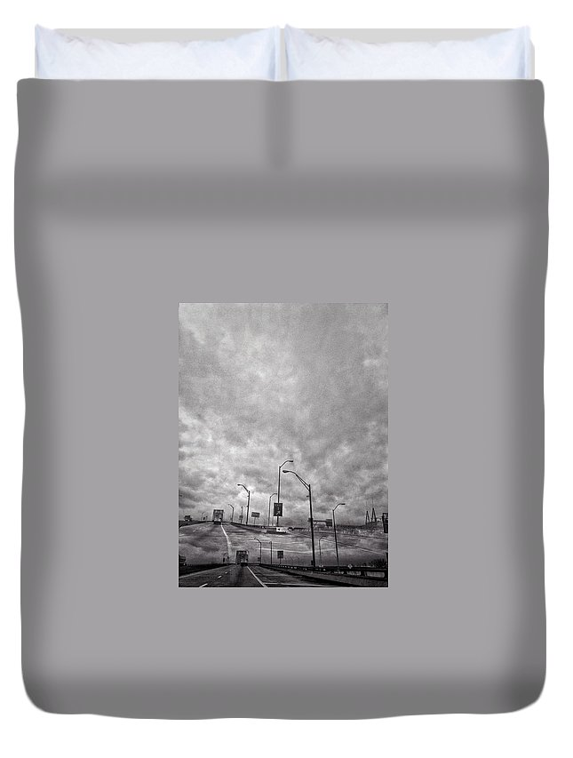 Black And White Duvet Cover featuring the photograph American Highway by H James Hoff