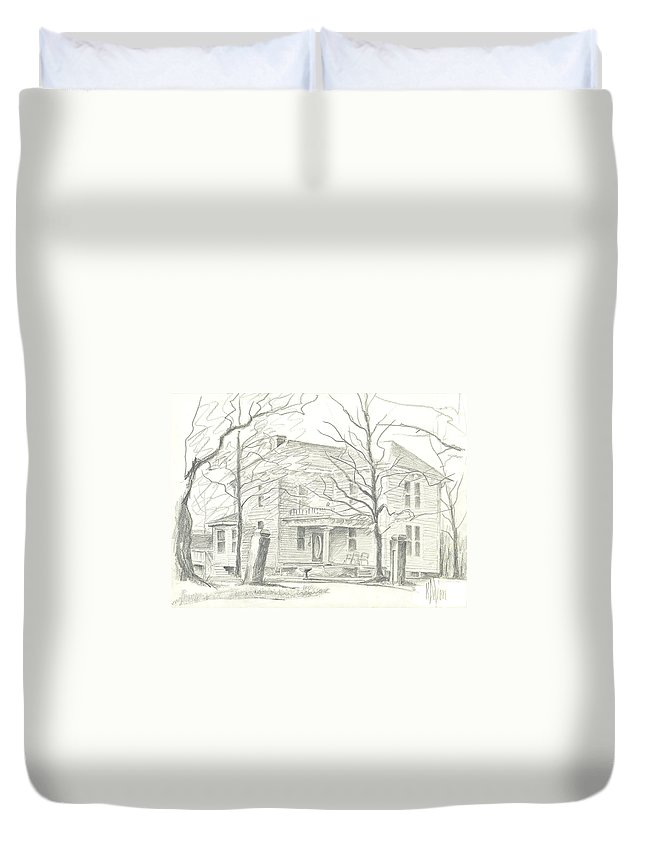 American Home Ii Duvet Cover featuring the drawing American Home II by Kip DeVore