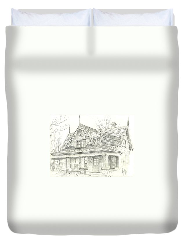 American Home Duvet Cover featuring the drawing American Home by Kip DeVore