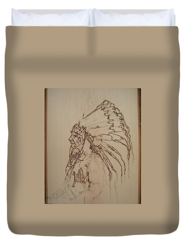 Pyrography Duvet Cover featuring the pyrography American Horse - Oglala Sioux Chief - 1880 by Sean Connolly
