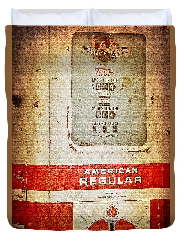 Standard Oil Company Duvet Cover featuring the photograph American Standard - Vintage Fuel Pump - Casper Wyoming by Diane Mintle