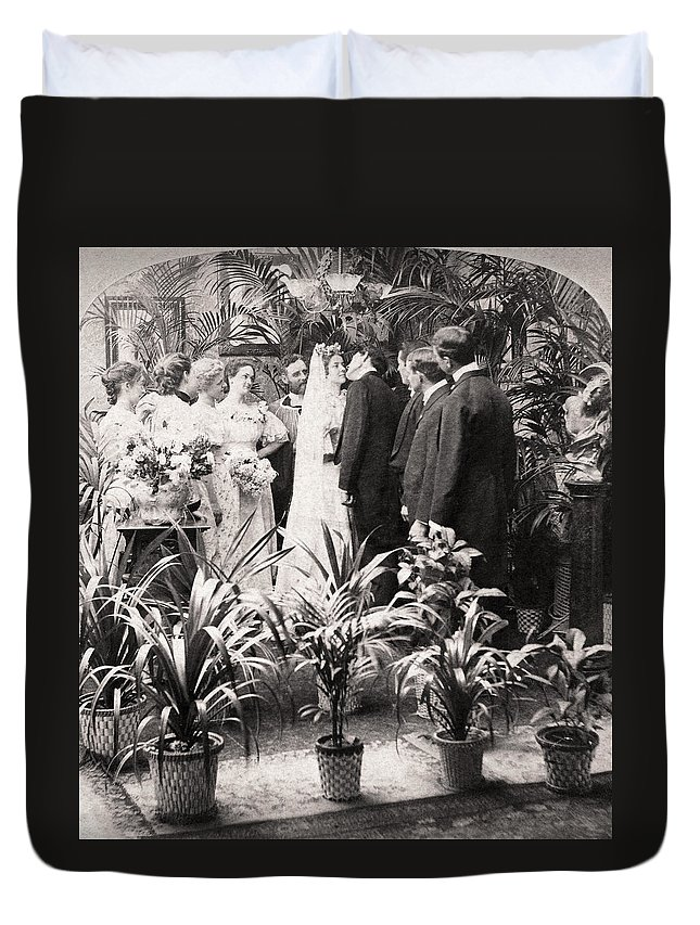 1900 Duvet Cover featuring the photograph American Wedding, 1900 by Granger