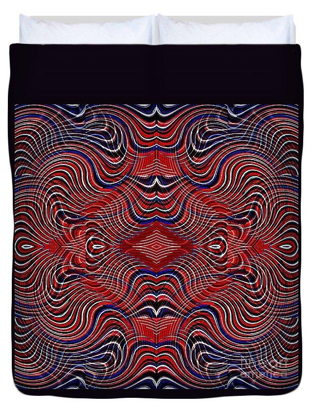 Swirl Duvet Cover featuring the digital art Americana Swirl Design 7 by Sarah Loft