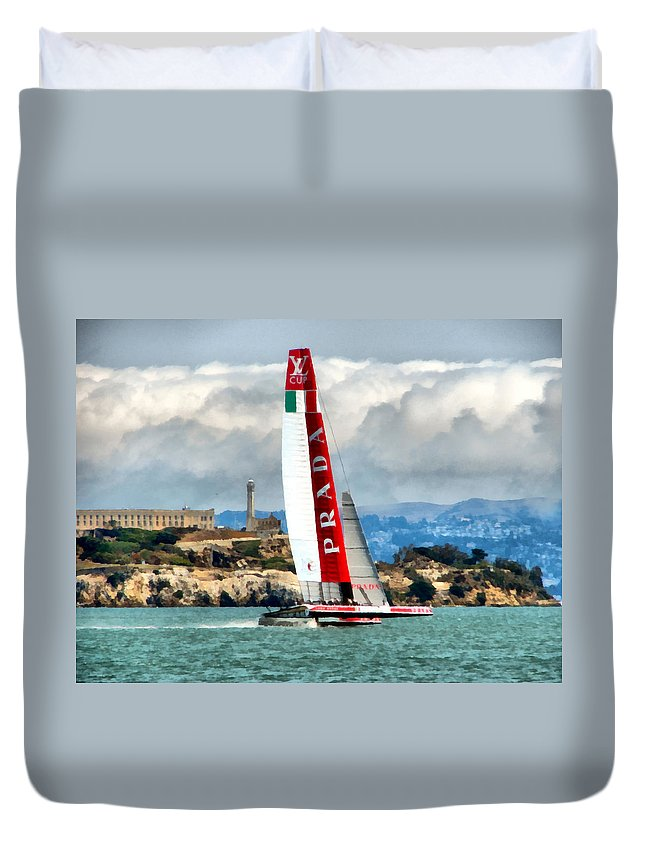 Sailing Duvet Cover featuring the photograph America's Cup And Alcatraz Ll by Michelle Calkins