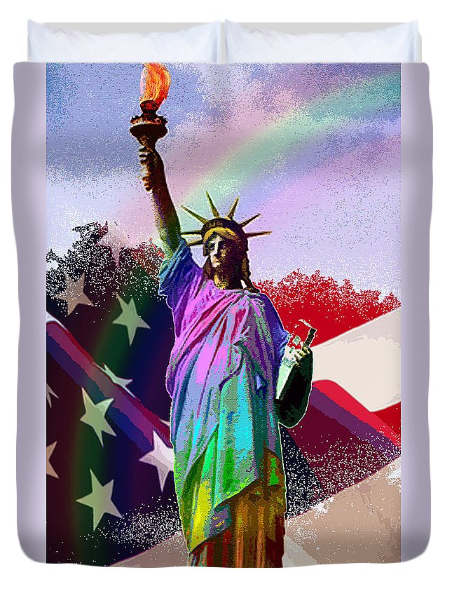 Statue Duvet Cover featuring the digital art America's Statue Of Liberty by Michele Avanti