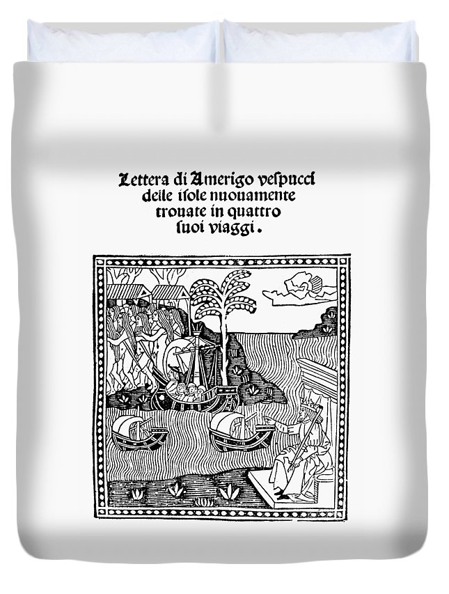 1505 Duvet Cover featuring the painting Amerigo Vespucci, 1505 by Granger