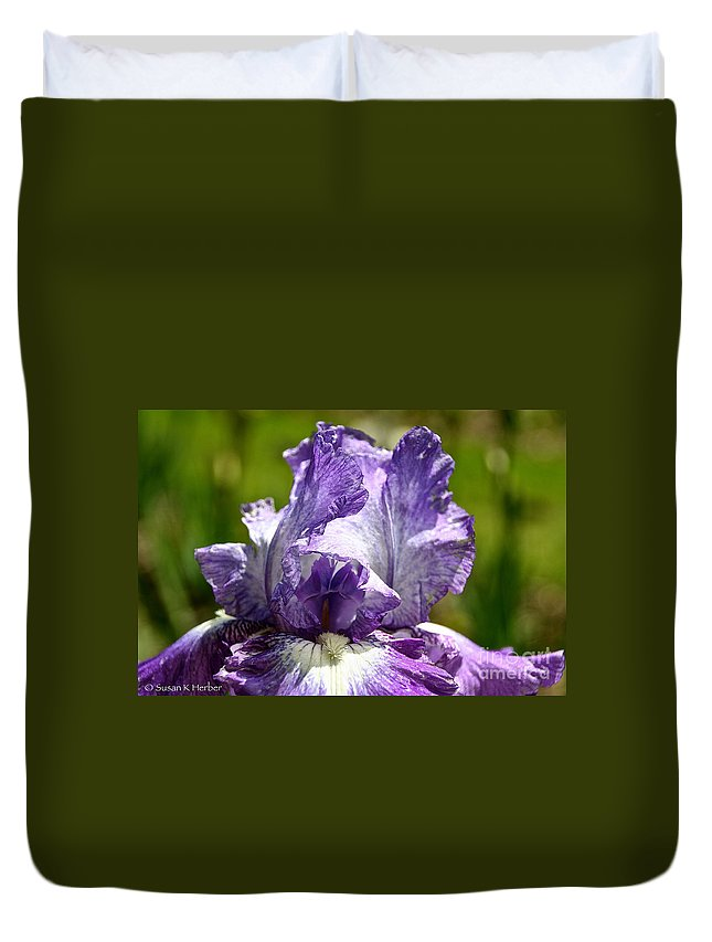 Flower Duvet Cover featuring the photograph Amethyst Iris by Susan Herber