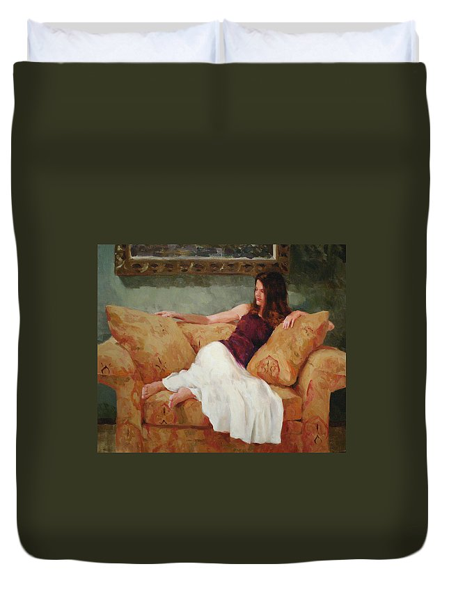 Figure Duvet Cover featuring the painting Ami by Scott Harding