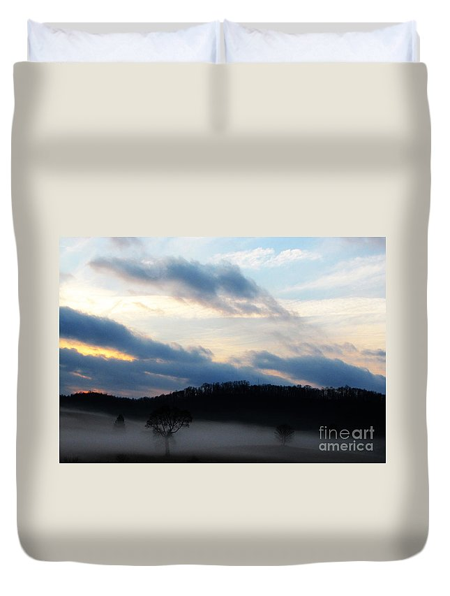 Landscape Duvet Cover featuring the photograph Amidst Foggy Misty Mountain by Ron Tackett