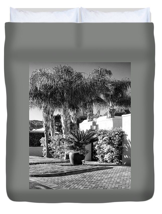 Duvet Cover featuring the photograph Amir Drive Bw Marrakesh Palm Springs by William Dey