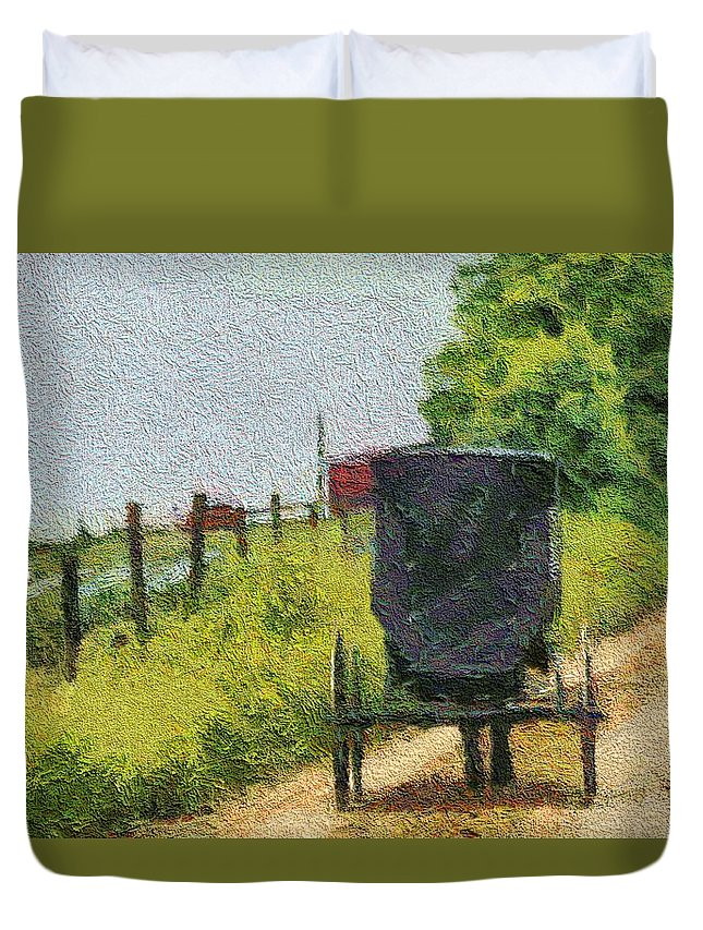 Autumn Hue Duvet Cover featuring the photograph Amish Buggy In Ohio by Dan Sproul