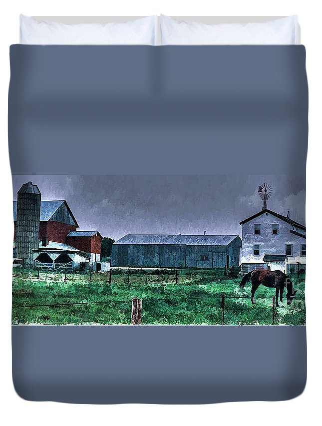 Amish Duvet Cover featuring the photograph Amish Farming 3 by Tommy Anderson