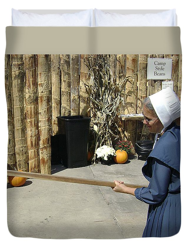 Amish Duvet Cover featuring the photograph Amish Making Apple Butter by R A W M