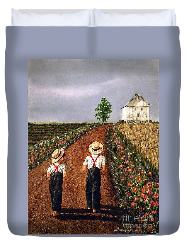 Lifestyle Duvet Cover featuring the painting Amish Road by Linda Simon