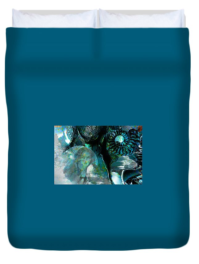 Ocean Duvet Cover featuring the digital art Ammonite Seascape by Lisa Yount