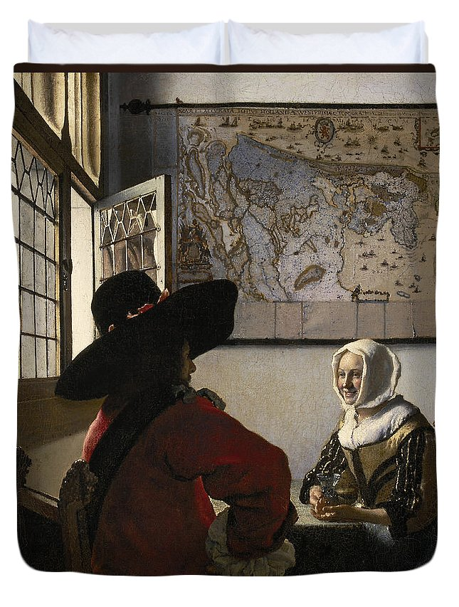 Amorous Duvet Cover featuring the painting Amorous Couple by Vermeer